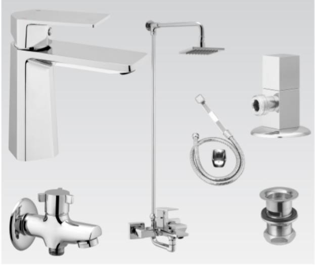 Faisal Sanitary 7107 Bath Set Complete, Diamond Bathroom Set